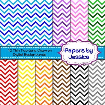 Digital Papers - Thin Two-Tone Chevron