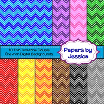 Digital Papers - Thin Two-Tone Double Chevron