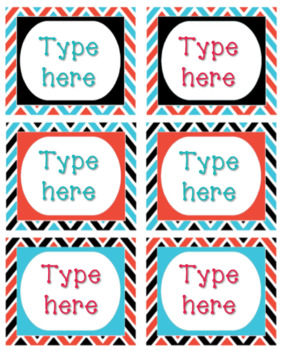 Thing 1 Thing 2 Red and Teal - Bin Labels - Editable