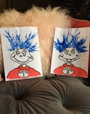 Thing 1 and Thing 2 Blow Painting Template Art Project