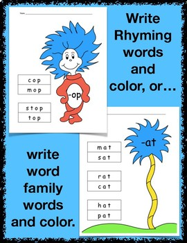Thing One and Thing Two-Rhyming Words or Word Family Words