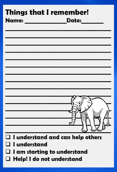 Thing That I Remember Exit Ticket/Assessment for All Subjects