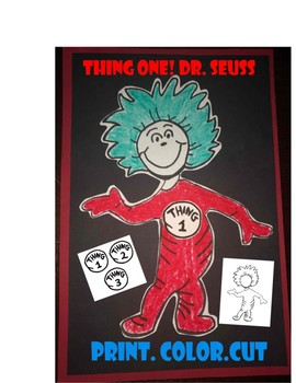 Thing one and Two Dr Seuss Read across America Craft art coloring kindergarten