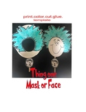 Thing one and two read across america craft puppet coloring art kids dr seuss