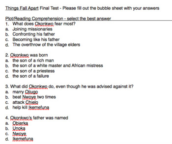Things Fall Apart By Chinua Achebe Final Assessment Pack