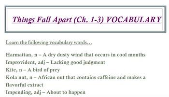 Things Fall Apart (Ch. 1-3) VOCABULARY