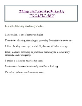Things Fall Apart (Ch. 12-13) VOCABULARY