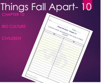 Things Fall Apart Chapter 10 Graphic Organizer Close/Guided Reading -Achebe