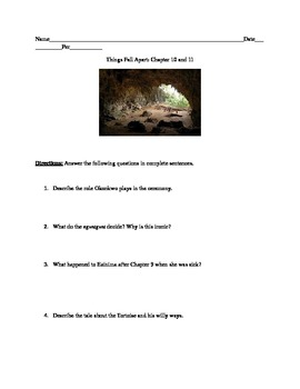 Things Fall Apart: Chapter 10 And 11 Questions And Activity