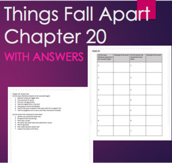 Things Fall Apart Chapter 20 Reading Graphic Organizer WITH ANSWERS