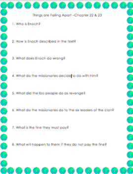 Things Fall Apart -Chapter 21 Reading Questions Graphic Organizer
