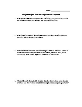 Things Fall Apart Chapter 4 Study Guide Questions