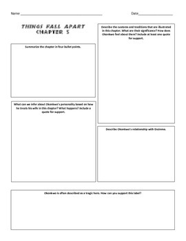 Things Fall Apart by Chinua Achebe Chapter 5 Graphic Organizer Homework