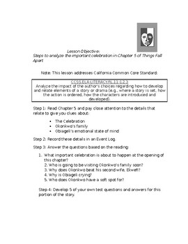 Things Fall Apart Chapter 5 Lesson Plan