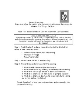 Things Fall Apart Chapter 7 Lesson Plan