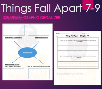 Things Fall Apart Chapter 7, 8, 9 Graphic Organizer Close Reading  Chinua  Achebe