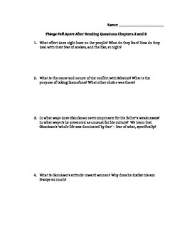 Things Fall Apart Chapters 2 and 3 Study Guide Questions