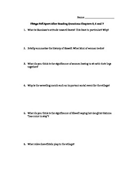 Things Fall Apart Chapters 5, 6, and 7 Study Guide Questions