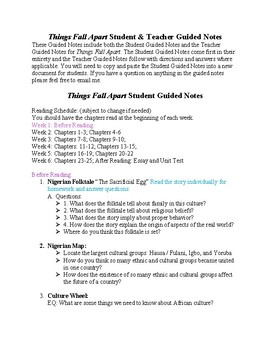 Things Fall Apart Guided Notes
