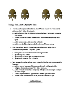 Things Fall Apart Objective Test (Common Core Aligned)