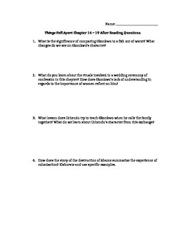 Things Fall Apart Part 2 (Ch 14-19) Study Guide Questions