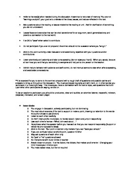 Socratic Seminar Discussion Assignment (Things Fall Apart-can use w/ any novel)