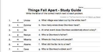 Things Fall Apart - Study Guide Summary Matching