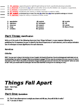 Things Fall Apart: Three Separate Quizzes (or Unit Test)