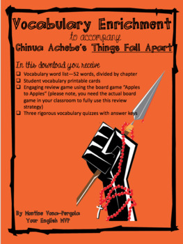 Things Fall Apart Vocab: 3 quizzes, answer keys, review game, and more!