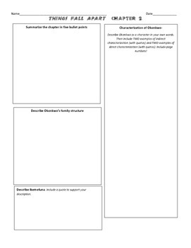Things Fall Apart by Chinua Achebe Chapter 2 Graphic Organizer