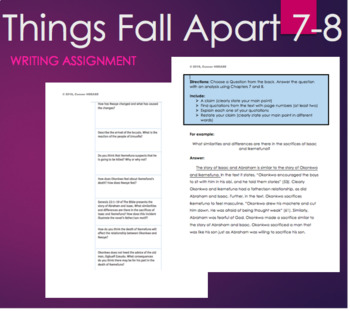 ... Things Fall Apart By Chinua Achebe Chapter 7 8 Writing Assignment Quiz