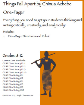 Things Fall Apart by Chinua Achebe One-Pager and Rubric