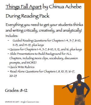 Things Fall Apart by Chinua Achibe During Reading Pack