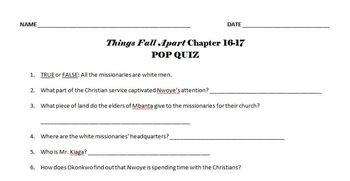 Things Fall Apart quiz pack