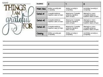 Things I Am Thankful For Paragraph Template +Rubric
