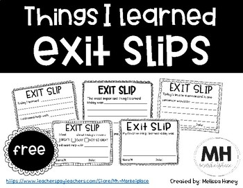 Things I Learned EXIT SLIPS - FREE