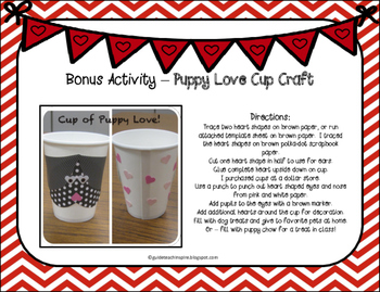 Valentine's Day Things I Love Booklet and Puppy Love Cup Craft