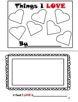 Things I Love- Valentine Book