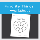 Favorite Things Worksheet