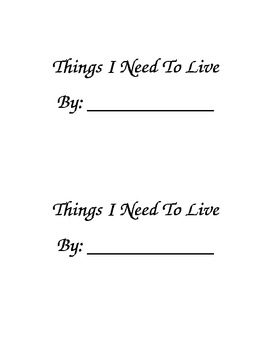 Things I Need To Live Printable Book