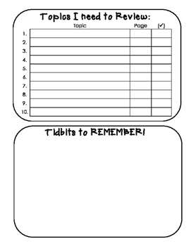 Things I Need To Review (Interactive Notebook Pages)