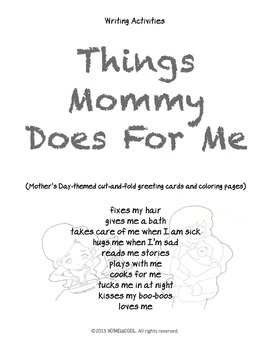 Things Mommy Does for Me - Writing Activity