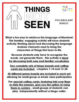 Things Not Seen Vocabulary Bingo