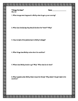 """""""Things Not Seen"""" by A. Clements, Comprehension Questions/Test"""