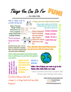 Things Older Kids Can Do For Fun!