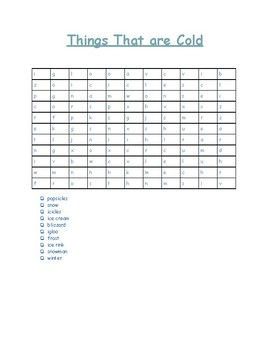 Things That Are Cold Word Search