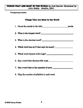Things That Are Most in the World Literature Guide
