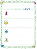 Things That BUG Me Worksheet Set