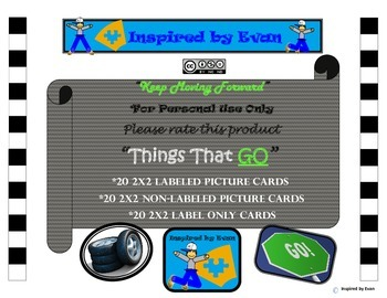 """Things That GO"" Word Matching/Memory Game/Flashcards for Autism"