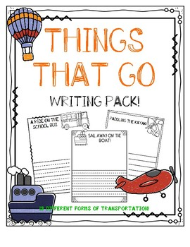 Things That Go/Transportation Writing Pack